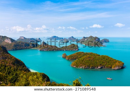 Ang Thong National Marine Park islands. bird's-eye view. Thailand. Vertical composition.  - stock photo