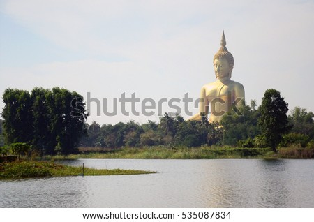 ANG THONG,THAILAND - DECEMBER 13 2016: Big Buddha of Ang Thong is largest sitting Buddha image in Thailand and it stands 93 meters high.