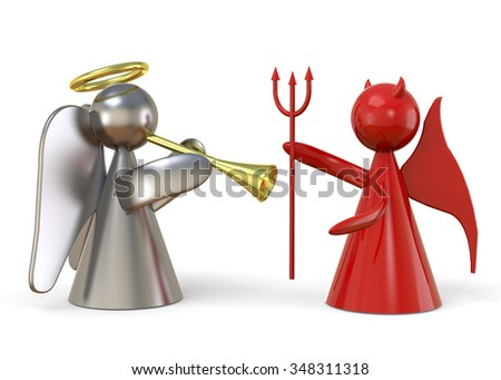 Angel and Devil - Conscience Concept - stock photo