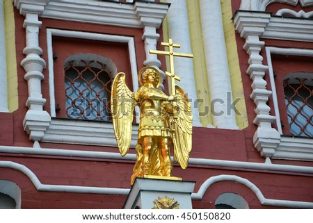 Angel at Red Square gate at Moscow