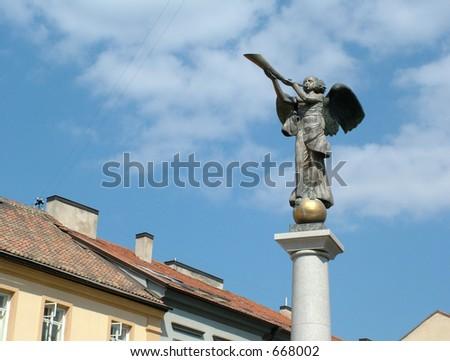 Angel at Uzupio, Lithuania - stock photo