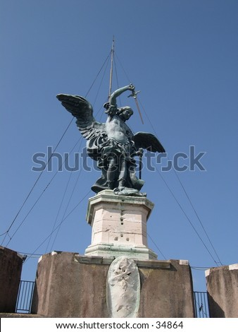 Angel atop of Castle San Angelo in Rome
