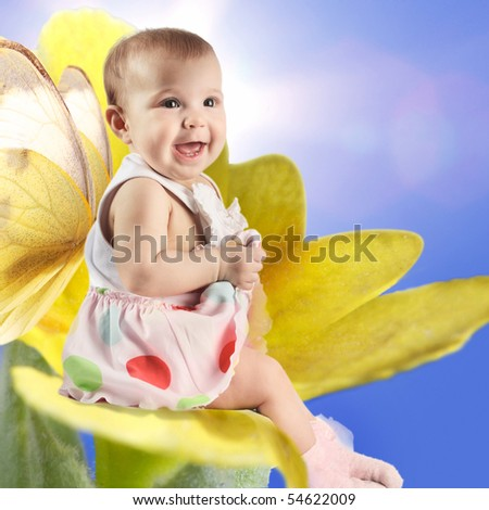 angel baby on flower