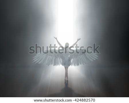 angel before open door to heaven, 3d illustration - stock photo