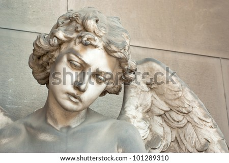 angel boy with wings - stock photo