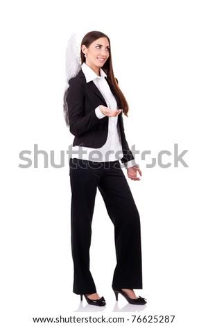 angel businesswomen smiling, nice boss,  isolated on white background - stock photo