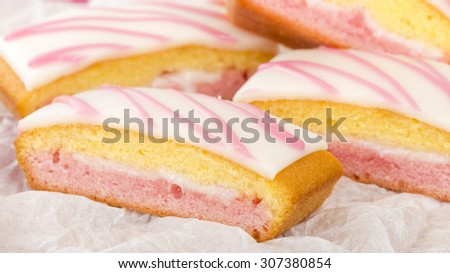 Angel Cake - Slices of angel cake on a white background. - stock photo
