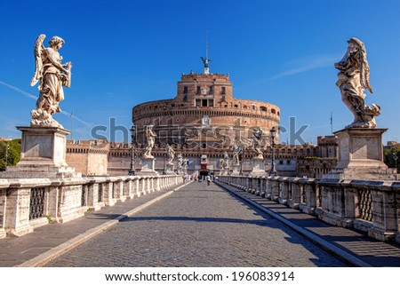 Angel Castle with Tiber river in Rome, Italy - stock photo