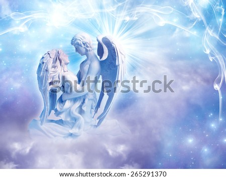 angel couple embraced - stock photo