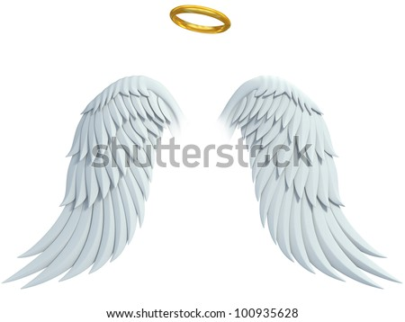 angel design elements - wings and golden halo isolated on the white background - stock photo