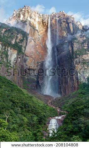 Angel Falls (Salto Angel) is worlds highest waterfalls (978 m) - Venezuela, South America - stock photo