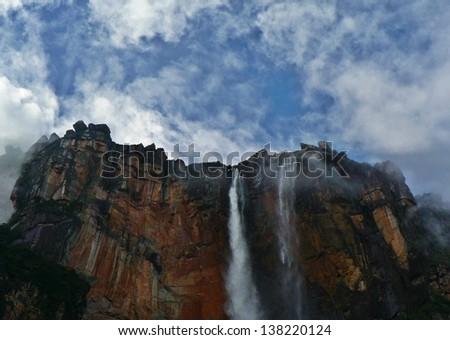 Angel Falls World highest waterfalls Venezuela - stock photo