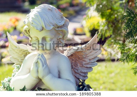 Angel figure in a cemetery / Cemetery - stock photo