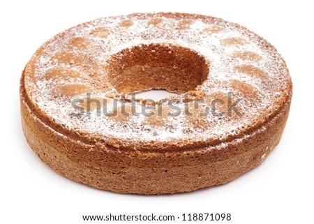 angel food cake isolated on white background - stock photo