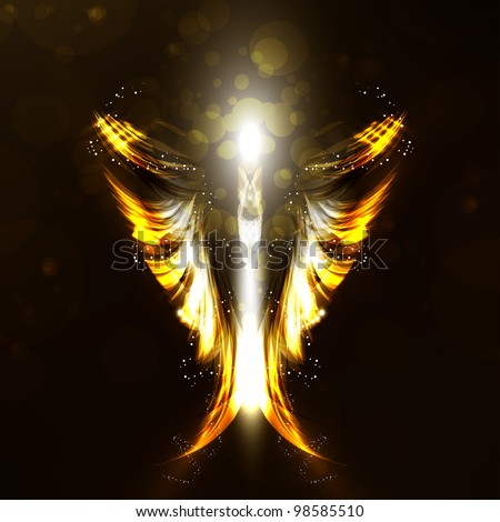 Angel futuristic background, wing illustration - stock photo