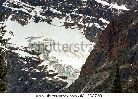 Angel Glacier flows down the north face of Mount Edith Cavell in Jasper National Park, Alberta, Canada