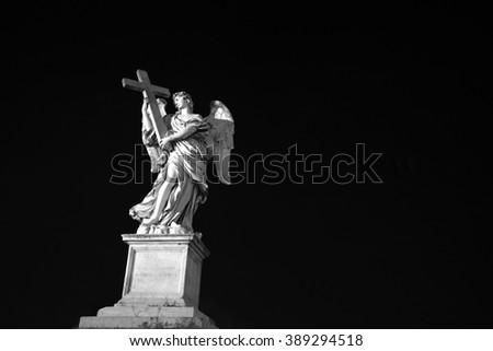 Angel guarding Rome near Castle Sant 'Angelo. Rome at night - stock photo