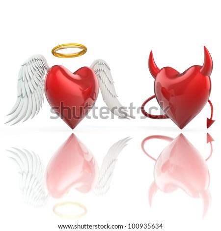 angel heart and devil heart 3d illustration - stock photo