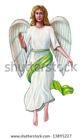Angel in a white and green robe. Digital illustration. - stock photo