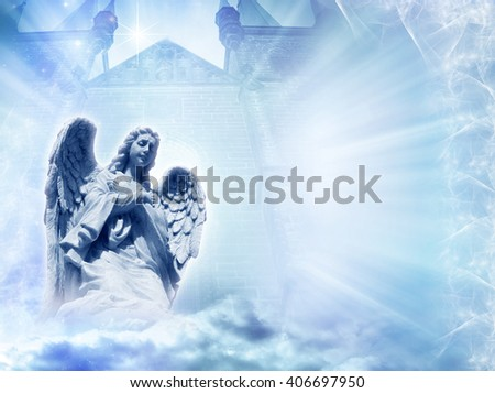angel in front of divine gate with rays of light - stock photo