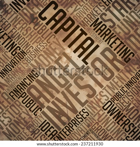 Angel Investor - Grunge Printed Word Collage in Brown Colors on Old Fulvous Paper. - stock photo