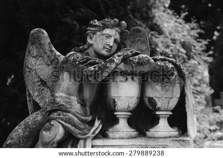 angel of death as a symbol of the end of life - stock photo