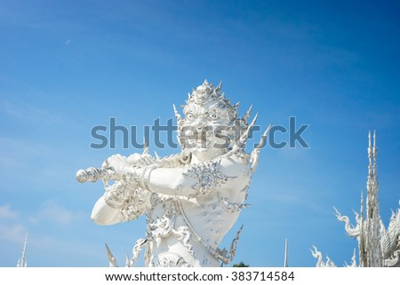 Angel of death statue in Wat Rong Khun,Chiangrai,Thailand. (Close-Up),(Public domain)