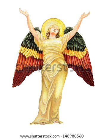 angel of God digital painting/ angel of God, - stock photo