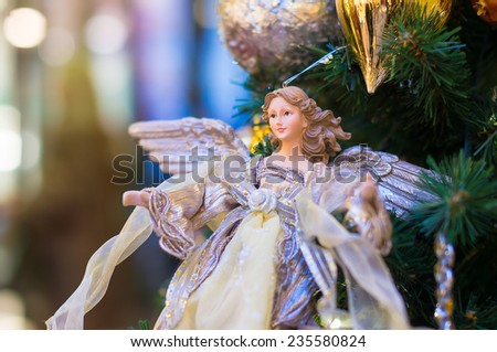 angel on Christmas tree - stock photo
