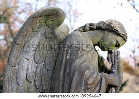 Angel on the old Prague Cemetery - stock photo