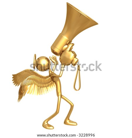 Angel Shouting To The Heavens On Giant Golden Megaphone - stock photo