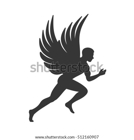 Angel Silhouette. Man with Wings Sign. illustration