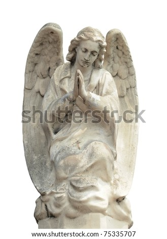 angel statue isolated on white background - stock photo