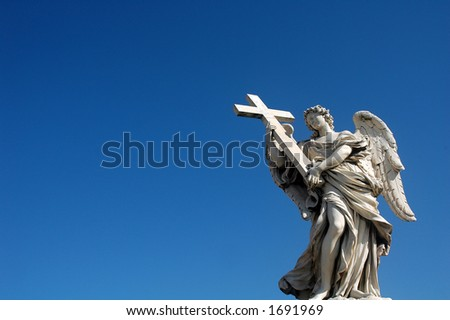 Angel statue on Ponte del Angelo in Rome