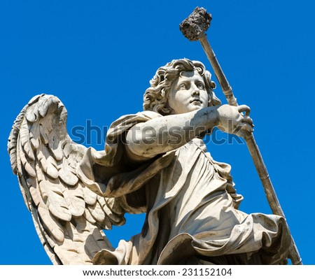 Angel statue on the Ponte Sant`Angelo in Rome, Italy - stock photo
