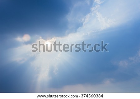 Angel sun ray of sun light like angel from a cloud - stock photo