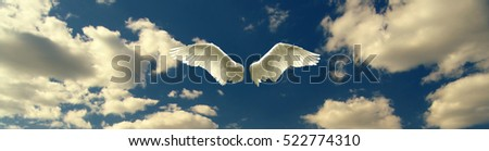 Angel wings against blue sky and white clouds on sunny day.