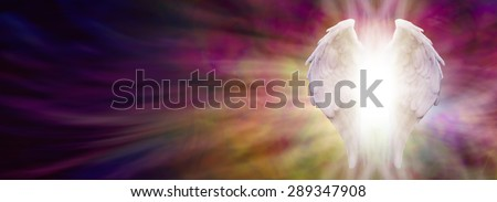Angel Wings and Healing Light Banner - White Angel wings with bright light beaming outwards from between on an ethereal warm rich colored pink and gold energy formation background - stock photo