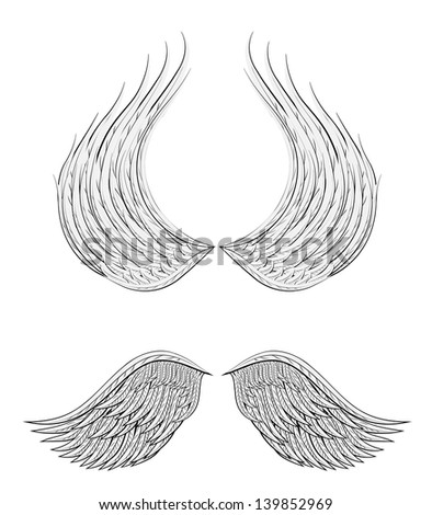 Angel wings cartoon design