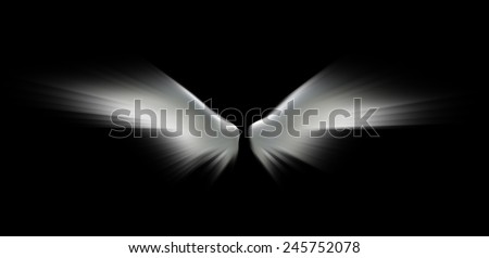 Angel wings isolated on the black background. - stock photo