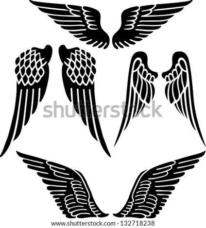Angel wings isolated on white - stock photo