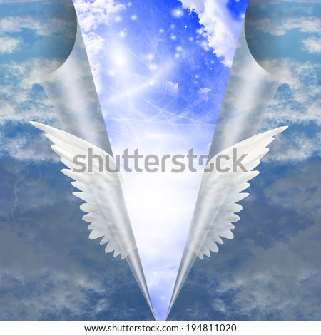 Angel wings pull apart seam of mortals to reveal workings - stock photo