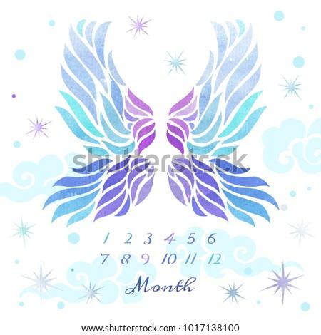 Angel Wings Watercolor Illustration Template Blanket Stock ...