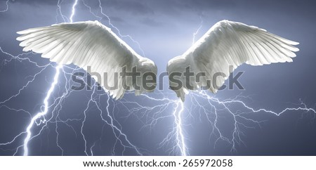 Angel wings with background made of sky and lightning. - stock photo