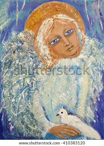 Angel with bird. Original acrylic painting on canvas. - stock photo