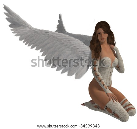 Angel with brunette sitting down