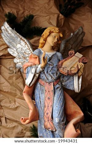 Angel with harp - stock photo