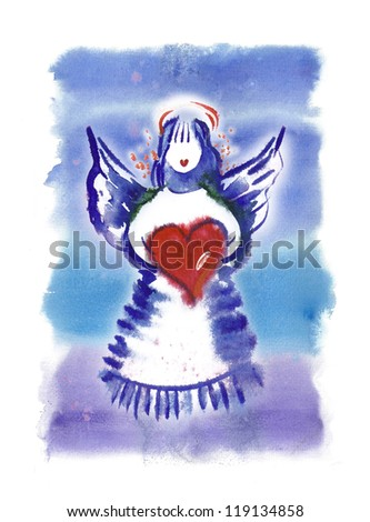 Angel with Heart - stock photo