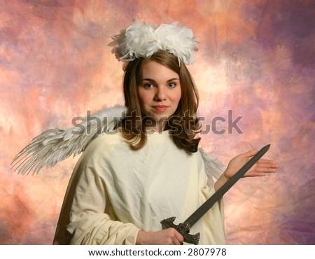 Angel with Sword - stock photo