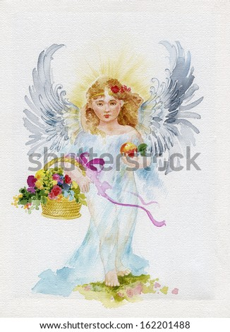 Angel with the basket full of flowers, watercolor painting on canvas - stock photo